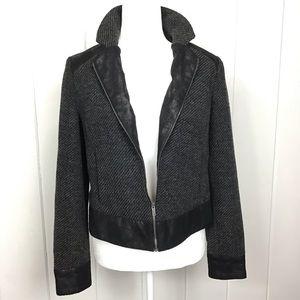 DKNY Black / Gray Wool Bomber Zip Jacket - S